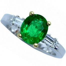 Stunning Emerald and Diamond Solitaire Ring. 18k - 750.