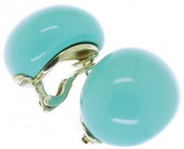 "A White Gold pair of Turquoise ""Babol"" Ear Rings. Eva Nueva."