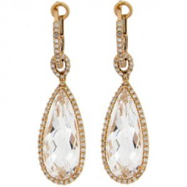 Rose Gold Topaz and Diamond Drop Earrings. 18CT - 750