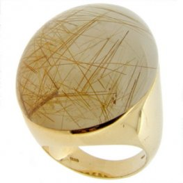 A stunning Large Rutilated Quartz Solitaire Ring. 18ct Yellow