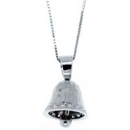 An 18k White Gold Diamond Bell Pendant and 18ct gold chain