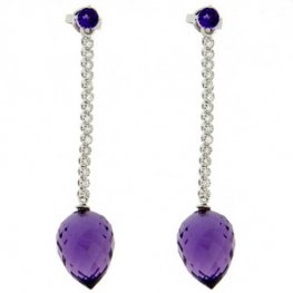 18k White Gold Amethyst and Diamond Earrings
