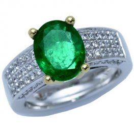 Modern Emerald and Pave Diamond Solitaire Ring - 18CT