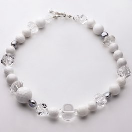 Pearl Clear Quartz and White Agate Necklace
