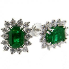 18ct Emerald Earrings. Diamond & Emerald Cluster Earrings.