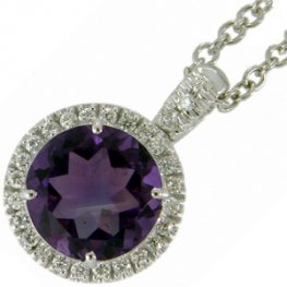 18ct Gold Round Amethyst and Diamond Cluster Pendant.