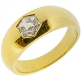 Rose Cut Diamond Gypsy Style Ring - 18ct Yellow Gold.