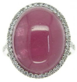 An 18ct Pink Tourmaline ring. Pink Tourmaline & Diamond ring.