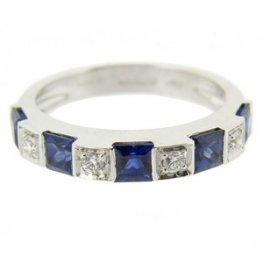 Square Sapphire & Diamond Eternity Ring. White Gold - 18ct.