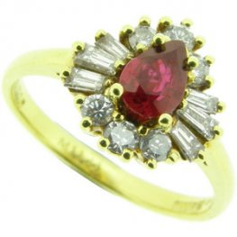 18ct Gold Pear Shape Ruby and Diamond Cluster Ring - 750.