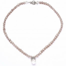 Pink Pearl and Clear Quartz Necklace