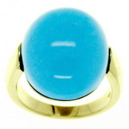 A Large Contemporary Turquoise Dress Ring.