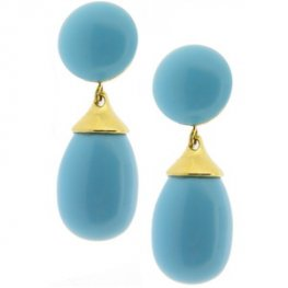 Turquoise 'Cherie' Drop Earrings - 18kt Yellow Gold
