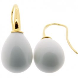 Yellow Gold & White Agate Pendant Earrings - 18kt
