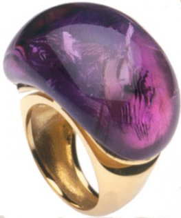18k large Amethyst Cocktail Ring Babol