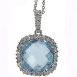 Diamond and Blue Topaz Pendant designed as a Cluster - 18ct Gold