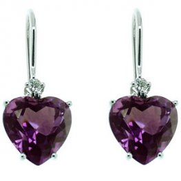 An Exceptional Pair of Amethyst & Diamond Earrings. 18ct - 750
