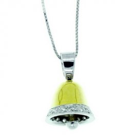 A Yellow Gold and Diamond Bell Pendant set in 18ct.
