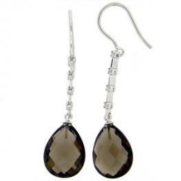 Smokey Quartz and Diamond Earrings 18k.