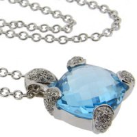 18ct White Gold. A Blue Topaz and Pave Diamond Pendant.