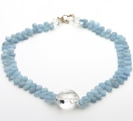 Aquamarine and Clear Quartz Necklace