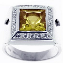 Designer Lemon Topaz and Diamond Ring. 18ct