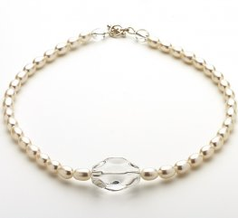 Fresh water Pearl and Clear Quartz Necklace