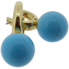 Turquoise Earrings 18ct yellow gold