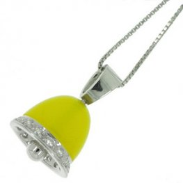 A Glowing Yellow Agate and diamond bell pendant set in 18ct.