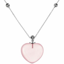 Gorgeous Rose Quartz and Diamond Necklace - 18ct White Gold