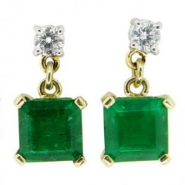 Square Emerald and Brilliant Cut Diamond Drop Earrings. 18K.