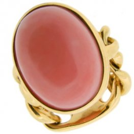 Pink Coral Ring - chain style shank. 18kt Yellow.