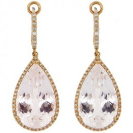 Enchanting Clear Topaz and Diamond Pendant Earrings.