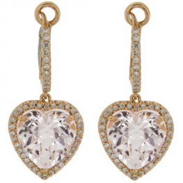 Designer Clear Topaz earrings. 18 carat Rose Gold