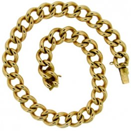 Victorian Yellow Gold Curb Link Bracelet - 34.5g