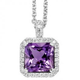 18K White Gold. Amethyst Pendant with Diamonds.