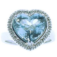 18ct Gold Heart Shape Aquamarine and Diamond Cluster Ring.