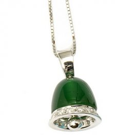 An 18ct Gold Green Agate and Diamond bell pendant.