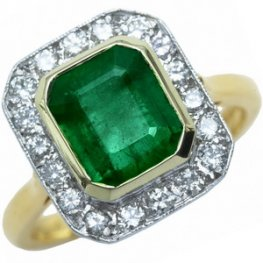 Vintage style Emerald and Diamond Cluster Ring - 18ct