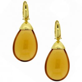 Yellow Gold 'Mandorla' Citrine Drop Earrings