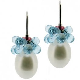 Briolette Blue Topaz and Pearl Drop Earrings - 18K