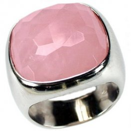 A simply stunning Rose Quartz Cocktail Ring. 18ct White Gold.