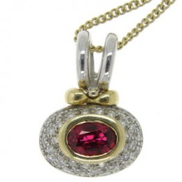 Chic Oval Ruby and Pave Diamond Cluster Pendant and Chain.