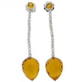 A Pair of 18 carat Citrine and Diamond Drop Earrings.