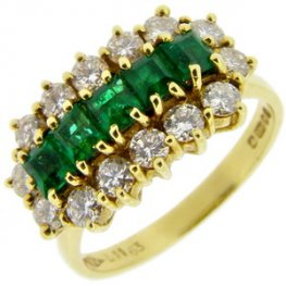 Yellow Gold Square Emerald and Diamond Fancy Cluster Ring. 18ct.