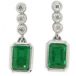 Rectangular Cut Emerald & Brilliant Cut Diamond Drop Earrings.