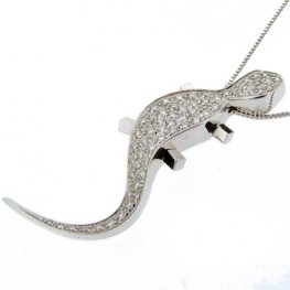 Diamond set Lizard pendant
