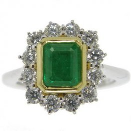 Classic Emerald Cut Emerald and Diamond Cluster Ring. 18ct Gold.