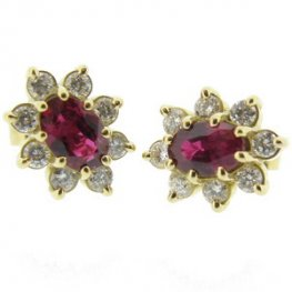 Oval Ruby and Diamond Earrings. 18ct Yellow Gold.