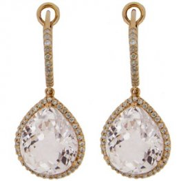 18ct Gold Pendant Earrings with Pear Shape Topaz and Diamonds